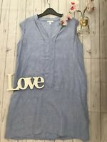 The White Company Size 14 pure linen light blue shift dress summer holiday