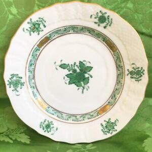 """PRISTINE HEREND HAND PAINTED PORCELAIN 6"""" BREAD PLATE - GREEN CHINESE BOUQUET,"""