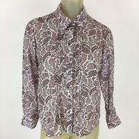 Pendleton Woman shirt blouse size 12 petite pink floral cotton silk Button down