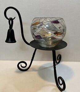 PARTYLITE Iron Candle Holder Snuffer Tiffany Mosaic Calypso Mosaic Bowl Set VTG