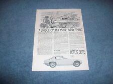 "1963 Lotus Elite Vintage Ad ""A Unique Overseas Delivery Thing"""