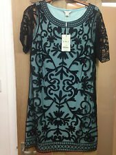 Ladies Monsoon Designer Dress Black On Blue New Size 10 (Was £109) NOW ONLY £55