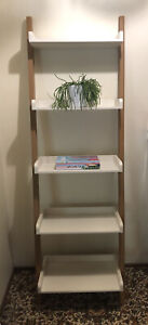 ladder shelf 5 tier white and natural tones