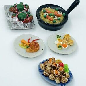 1:12 Scale Seafood Bundle Doll House Miniature Food Asian Ceramic Plate 5 Pieces