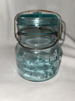 Vintage Atlas E-Z Seal Aqua Squat Pint Canning Jar with Glass Lid & Wire Bail