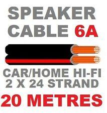 Cable de parlante 20m Red/black 6a Auto Coche Hi-fi Cable de altavoz 2x24 Strand 20 Metros