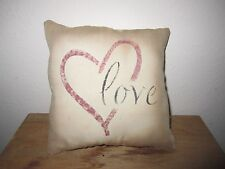 Primitive Stenciled Pillow - love - barn red heart -
