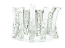Platinum Silver Genuine White Diamond Pave Set Hand Made Right Hand Ring Gift