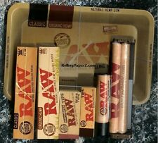 Raw Rolling Bundle Tray King Size Classic & Hemp Papers Tips Machine Lighter