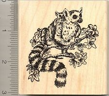 Lemur with Baby Rubber Stamp, Madagascar Primate Mother and Child L5706 WM