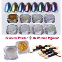 Mirror Powder Sequins Chrome Pigment Glitters DIY Brushes Nail Art Decoration