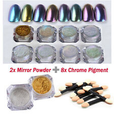 Mirror Powder Sequins Chrome Pigment Glitters DIY Brushes Nail Art Decoration