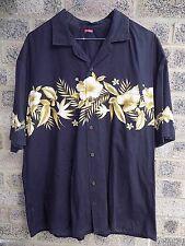 "Mens Vintage black hawaiian hibiscus shirt 48"""