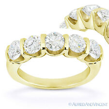 Round Moissanite 14k Yellow Gold 5-Stone U-Prong Anniversary Ring Wedding Band