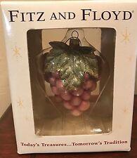 "Fitz and Floyd Renaissance Grapes Fruit Glass Ornament Shimmery 4"" Nib"