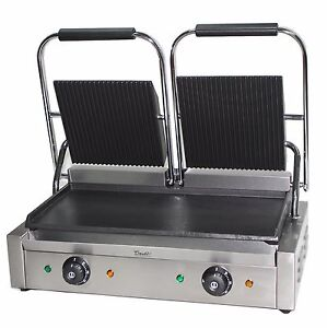 Davlex Panini Press Double Sided Electric Commercial Twin Contact Grill Pannini