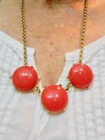 Vintage Gold Tone Orange Cabochon Statement Necklace