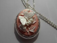 Cameo Locket- Butterfly Silver Plated (pink/white)