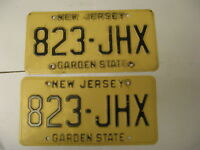 New Jersey NJ License Plate 823-JHX Pair