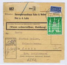 Bizone/Bauten, 97IIeg MiF 128 (5), Paketkarte Diez, 19.3.52