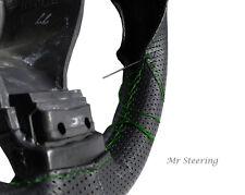 Per PEUGEOT 206 vero BLACK perforato in pelle Volante Copertura Verde Stitch