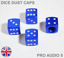 Blue & Chrome Dice Valve Dust Caps Bike Motorbike Car Van Seat VW Fiat Ford - UK