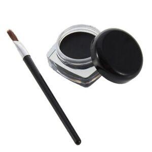 Gel Black Eyeliner Pot & Brush Smokey Waterproof Eye liner Shadow Makeup