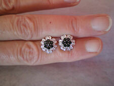 Black Spinel & Topaz, stud earrings, 1.07 carats, 1.95 grams of 925 Sterl Silver
