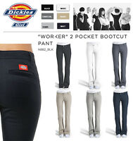 DICKIES GIRLS SLIM FIT BOOTS CUT PANTS N882 WORKER WOMEN BLACK KHAKI NAVY