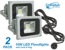 2 x Crompton 10W LED Outdoor Security Floodlights IP65 with Cord & Plug DIY