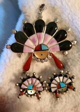 Sterling silver native american pendant and Earrings set Zuni multi stone