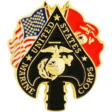 Us Marine Corps Spade Flags Emblem Usmc Lapel / Hat Pin