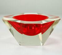 Murano Glas Schale wie Blockvase facettiert geschliffen Sommerso Vintage 70er