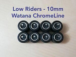 1/64 Custom Wheels LOW RIDERS WHEELS RUBBER TIRES 10MM WATANA GREY - Hot Wheels