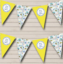 Construction Digger Tractor Yellow Children's Birthday Bunting Party Banner