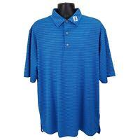 FootJoy FJ Polo Golf Shirt Mens Size XL Short Sleeve Blue White Stripe Polyester