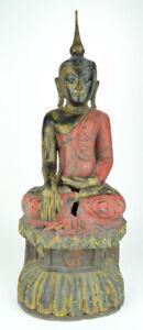 Holz Buddha im Lotussitz auf Lotusblüte, rot, Höhe ca. 71,5 cm