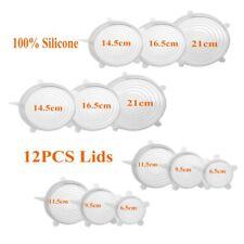 12PCS Universal Heathy Silicone Stretch Lids Kitchen Cover Reusable Bowl US