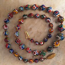 """VINTAGE MURANO VENETIAN GLASS MILLEFIORI NECKLACE - 24"""" LONG - PEARL KNOTTED !!!"""