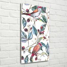 Wand-Bild Kunstdruck aus Hart-Glas Hochformat 70x140 Vögel Brombeeren