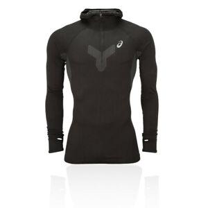 Asics Mens Long Sleeve Hooded Top Black Sports Running Half Zip Breathable