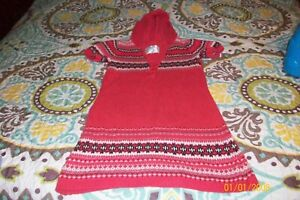 GIRLS HOODED KNITED DRESS JUSTICE SIZE 10 DARK PINK WITH BLACK & WHITE DESIGN