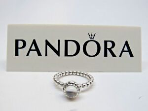 New w/Box Pandora April Rock Crystal Birthday Bloom Ring 190854BK 56-58-60