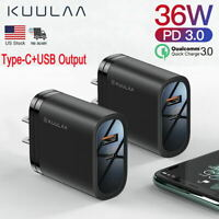 36W Fast Quick Charge QC 3.0 USB+Type C Wall Charger Power Adapter Plug 2 Ports