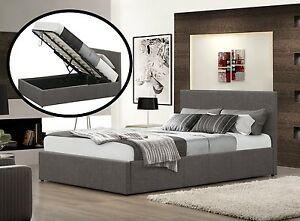 Fabric Ottoman Bed Storage Grey 4FT6 Double with 15cm Memory Foam Mattress