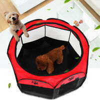 Oxford Large Pet Dog Cat Playpen Tent Portable Sport Fence Kennel Cage Crate Red