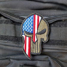 SPARTA SKULL AMERICAN FLAG USA FLAG ARMY MORALE BADGE EMBROIDERED HOOK PATCH #02