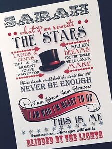 Hand-Made Personalised 'The Greatest showman LYRICS'  Greeting card (5x7 card)