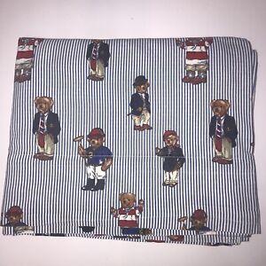 Vintage Ralph Lauren Bear Print Cotton Flat Sheet or Craft Fabric USA Twin