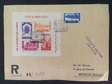 1937 Tetuan Spanish Morocco Airmail Cover to Belgium Souvenir Sheet # 173a